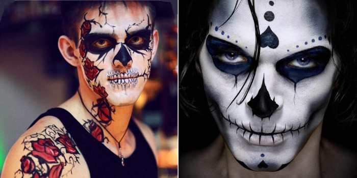 guys wearing two different versions, of the sugar skull makeup, face paint inspired by dia de los muertos, black and white and blue, and white and black with roses