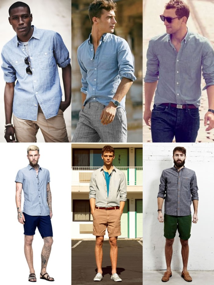 six men wearing pale blue shirts, combined with shorts, trousers and jeans, capsule wardrobe men
