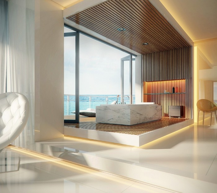 sea view visible from an open window, spacious modern bathroom, rectangular marble bathtub, smooth white floor, and wooden details, bathroom remodel pictures