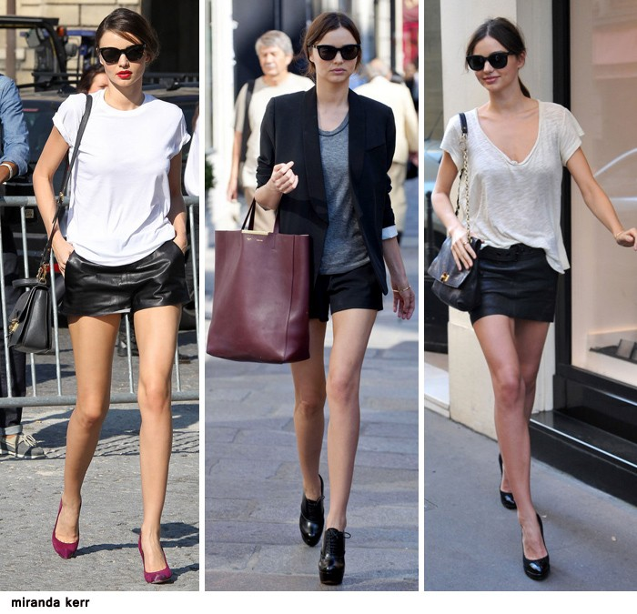 three images of miranda kerr, wearing a black leather mini skirt, and black hotpants, capsule closet, white and pale grey t-shirts, black smart balzer