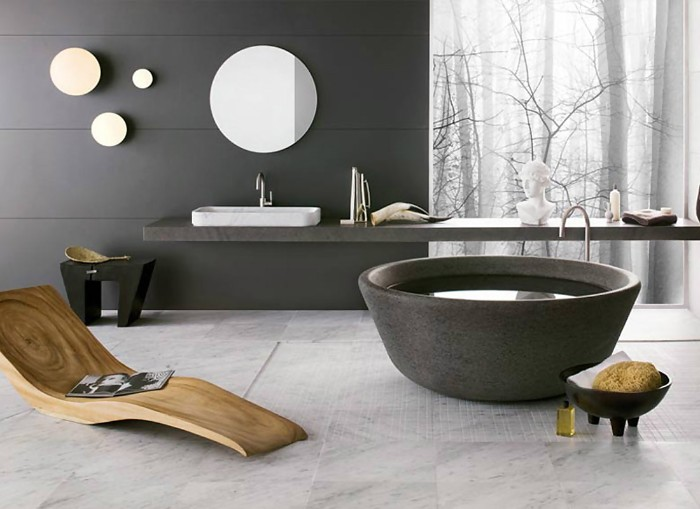 dark grey panels, on the walls of a modern bathroom, with a wooden lounging chair, and a round tub, master bathroom ideas