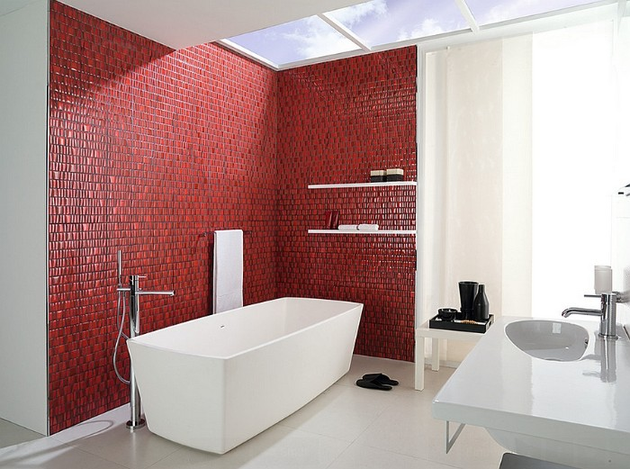 bright spacious bathroom, with skylight windows, a white modern bathtub, and a sink, best paint for bathrooms, red mosaic tiles on two of its walls