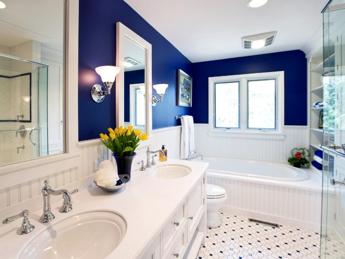 two mirrors in white frames, on the navy wall of a bathroom, with white wooden paneling, bathroom paint colors, black and white, mosaic tiled floor