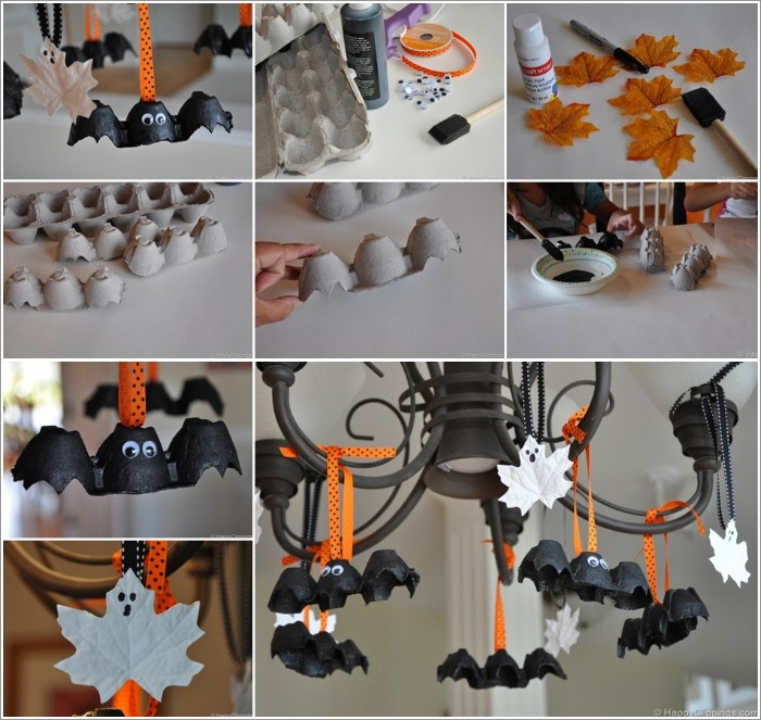 fall leaves covered in white paint, halloween party decoration ideas, bats made from egg cartons, hanging from a black chandelier