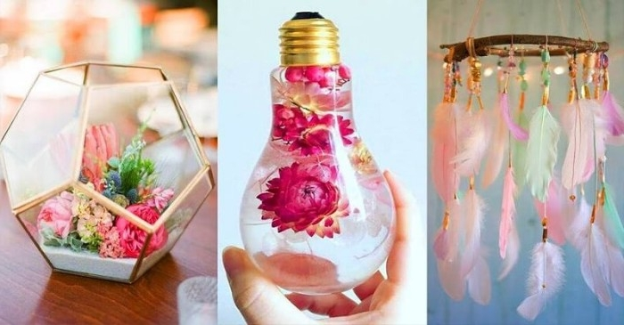 terrarium for succulents, used lighbulb filled with water and pink flowers, dreamcatcher-like ornament with paste-colored feathers, DIY decorations for your room