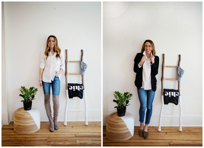 wearing blue skinny jeans, in two different ways, with pale grey, over the knee boots, and a white blouse, and whiith animal print mules, a white blouse, and a black cardigan