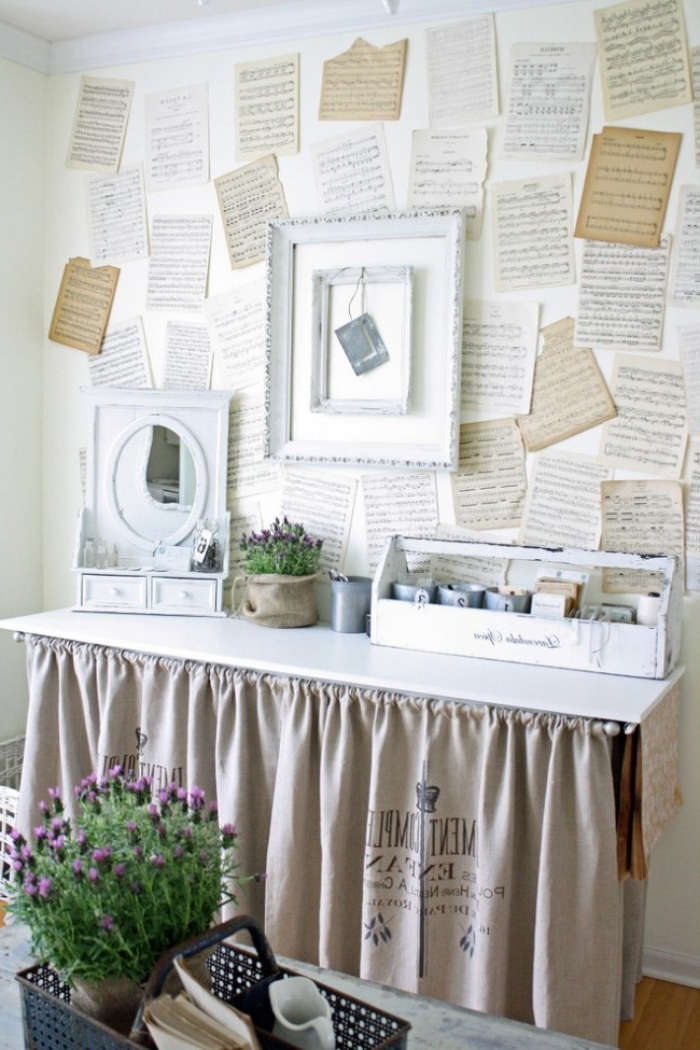 vintage sheet music pages, in sepia and cream and white, stuck on a wall, dorm wall décor, with shabby chic ornaments