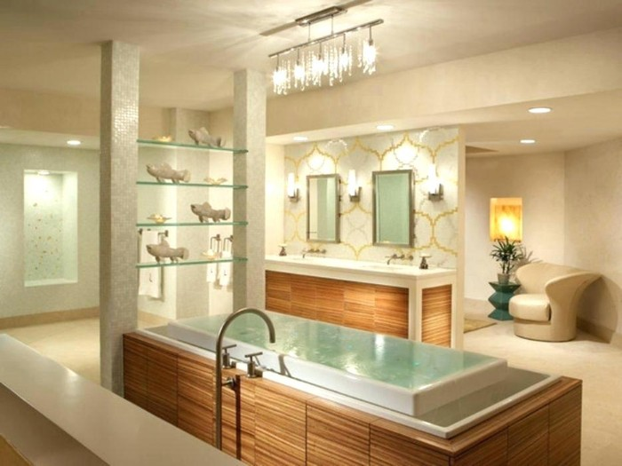 well-lit spacious bathroom, with an elevated bathtub, lined with wooden panels, four display shelves, with various decorations