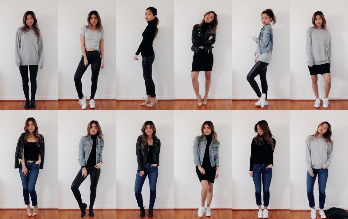 twelve capsule outfits, with essential mix and match items, black leggings and jeans, a pale grey jumper, black t-shirt and denim jacket, and many others