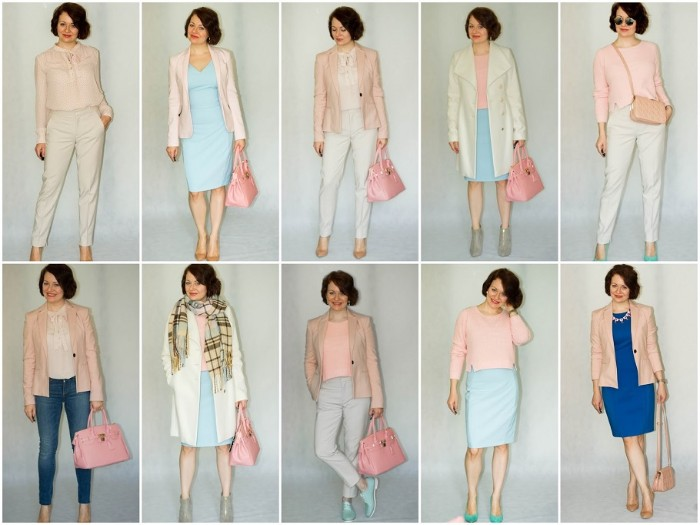 baby pink and light blue, pale beige and grey clotes, combined in ten different ways, and worn by a slim, smiling brunette woman, jeans and trousers, dresses and blouses, blazers and a coat