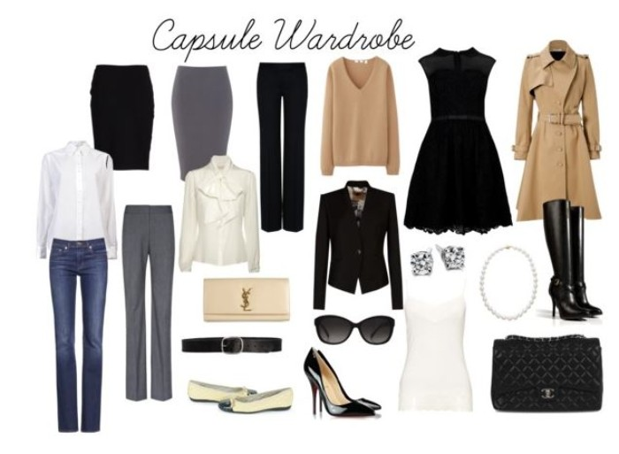 basic capsule closet, two skirts and two pairs of trousers, a shirt and a blouse in white, jeans and a dress, outwear and accessories