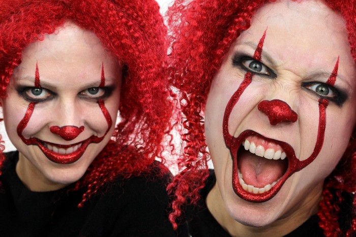 wig with small red curls, on a woman wearing clown makeup, resembling the face of pennywise, from the film it, halloween face paint ideas for adults, collage with two images