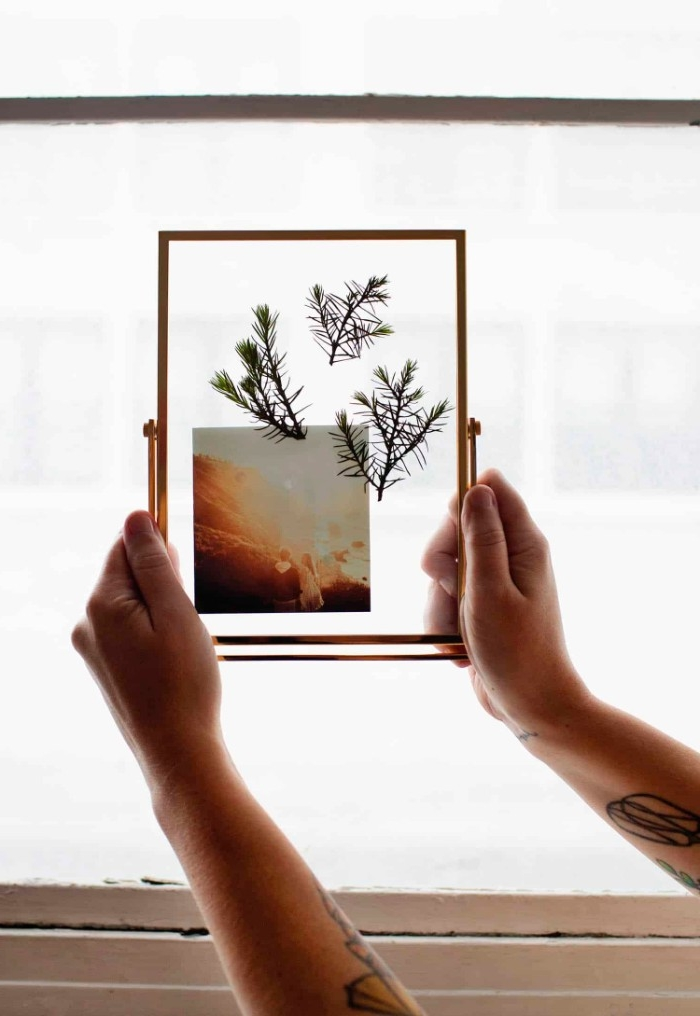 dorm wall décor, two arms holding a framed artwork, featuring three dried plants and a photo, pressed in glass