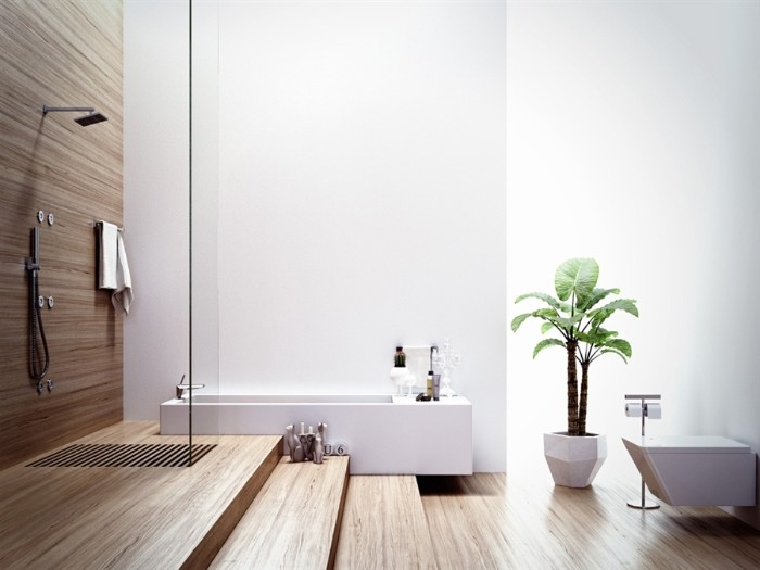 rectangular bathtub in white, inside a room with wooden floors, and an open plan showe area, master bathroom ideas, potted plant and a toilet seat