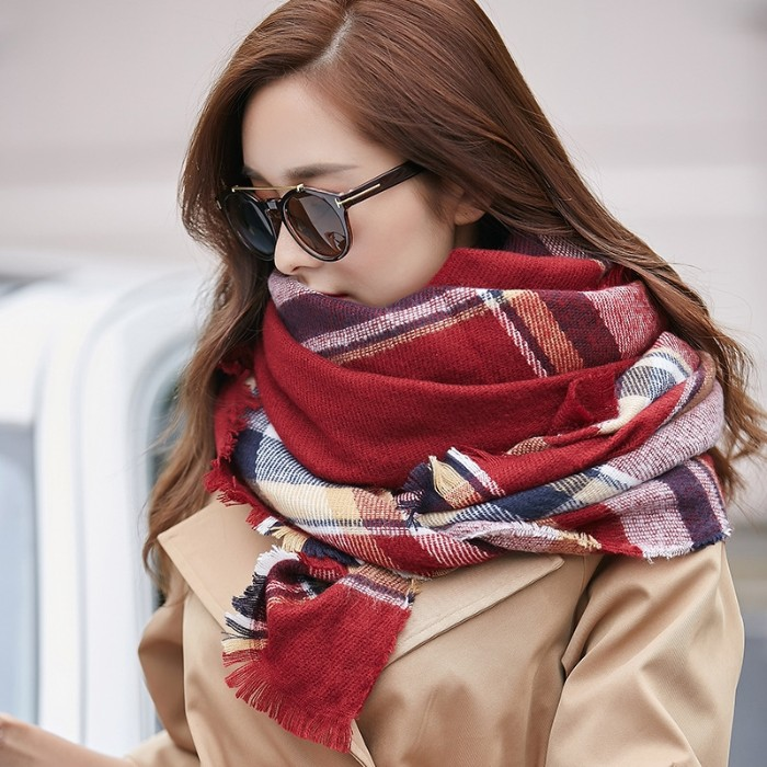 what is a capsule wardrobe, young brunette woman, wearing a beige trench coat, a tartan blanket scarf, and dark brown sunglasses
