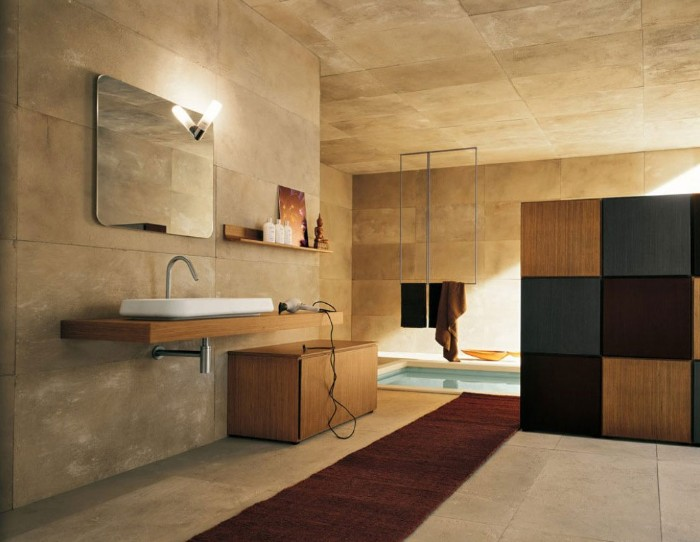 stone tiles in beige, covering the walls, ceiling and floor, of a modern bathroom, bathroom picture ideas, ling dark brown runway carpet, mirror and toiletries