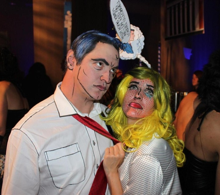 pop art inspired couple's halloween costume, man and woman with faces, painted in the style of roy lichtenstein