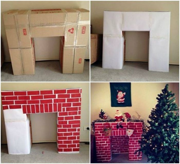 make your own chimney decoration for christmas, in four easy steps, carboard boxes covered with white paper, and decorated with brick-like paper shapes
