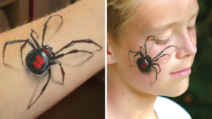 3D effect spiders, painted on a person's arm, and on the face of a young child, halloween bodypainting ideas
