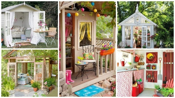 five different she shed ideas, two orangery style constructions, two small simple sheds, and an image, showing a colorful shed interior