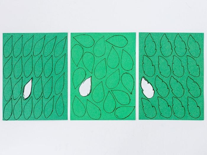 pieces of green card or paper, each covered in different leaf outlines, diys for your room, a single leaf shape, cut out from each piece