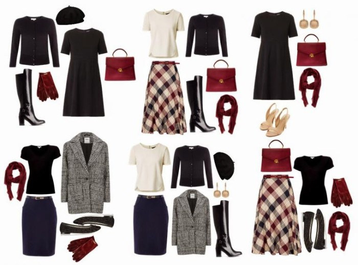 red and black, white and grey, mix and match capsule outfits, little black dress, grey woolen coat, plain tops and skirts, accessories and shoes