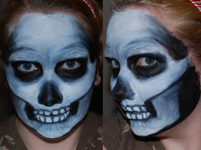 diy skull face paint, in black and white and grey, worn by a young woman, seen from two different angles