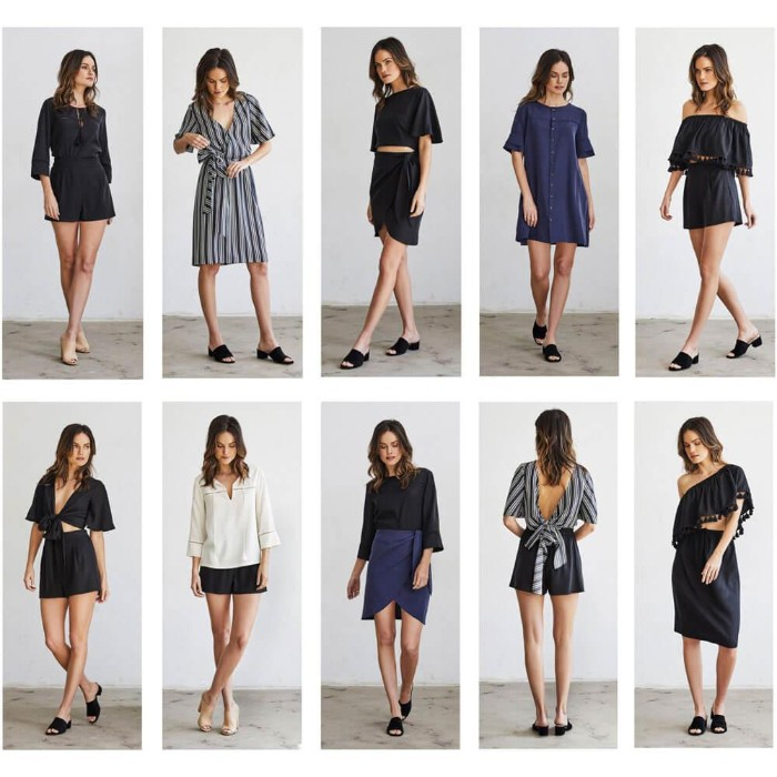 ten different outfits, worn by a slim brunette woman, capsule wardrobe planner, with mix and match items, skirts and shorts, different tops and two dresses