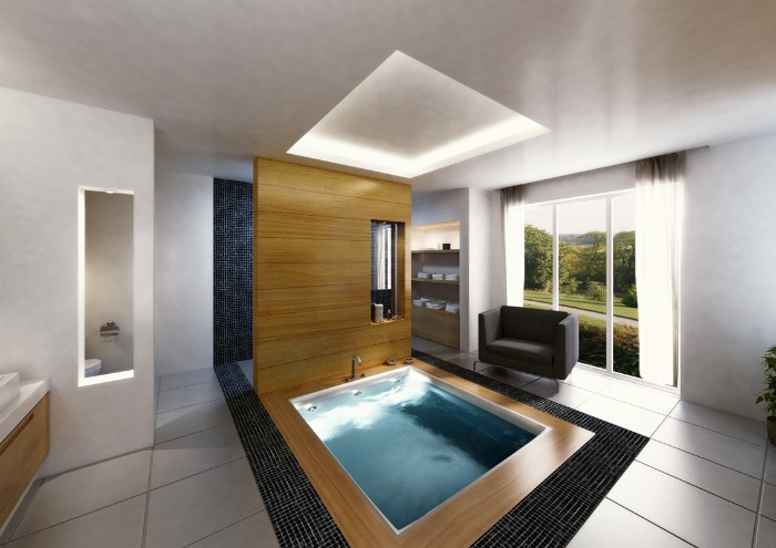 pool-like square bathtub, filled with water, and surrounded by wooden panels, bath remodel ideas, large space with tiled floor, and a dark grey sofa