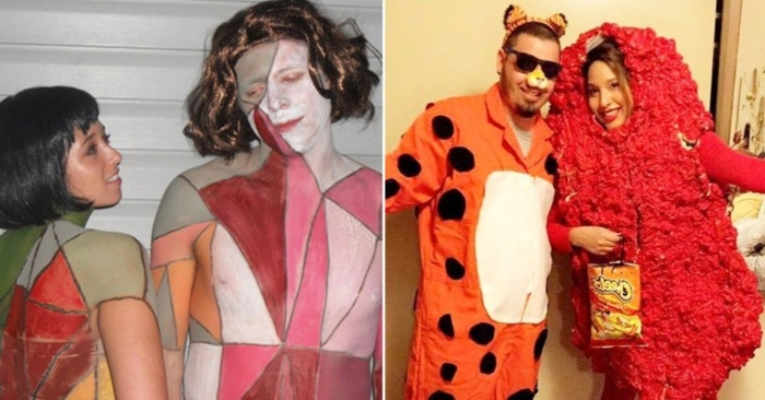 people dressed like kimbra and gotye, from the somebody that i used to know video, dynamic duo ideas, couple dressed like the cheeto mascot, and a spicy cheeto