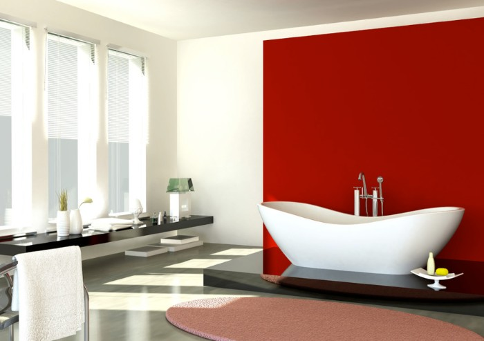 red square panel, behind a modern white bathtub, bathroom paint colors, white room with three narrow windows