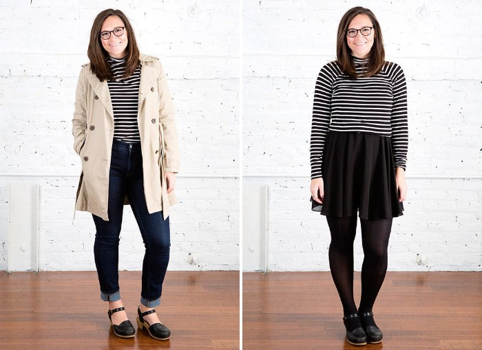 side by side images, of a smiling brunette woman, wearing a striped turtleneck, combined with dark blue jeans, and a trench coat in one photo, and paired up with a black mini skirt, and black opaque tights, in the other photo