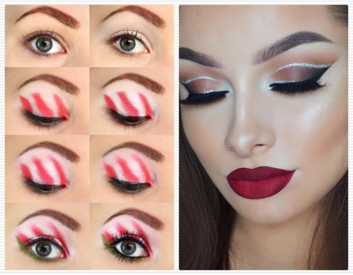 peppermint eye shadow tutorial, in eight images, christmas makeup looks, next image shows young woman, with dark red lips, and smokey eye makeup, with faux lashes, and silver details