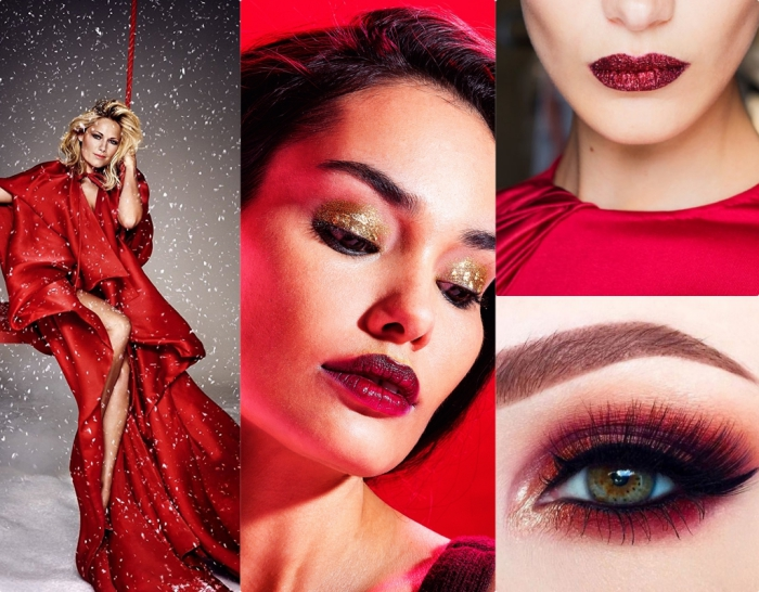 holiday makeup and outfit ideas, blonde woman in a red silky robe, brunette woman with sparkly gold eye shadow, and dark red lipstick, smokey eye makeup, red lips with glitter