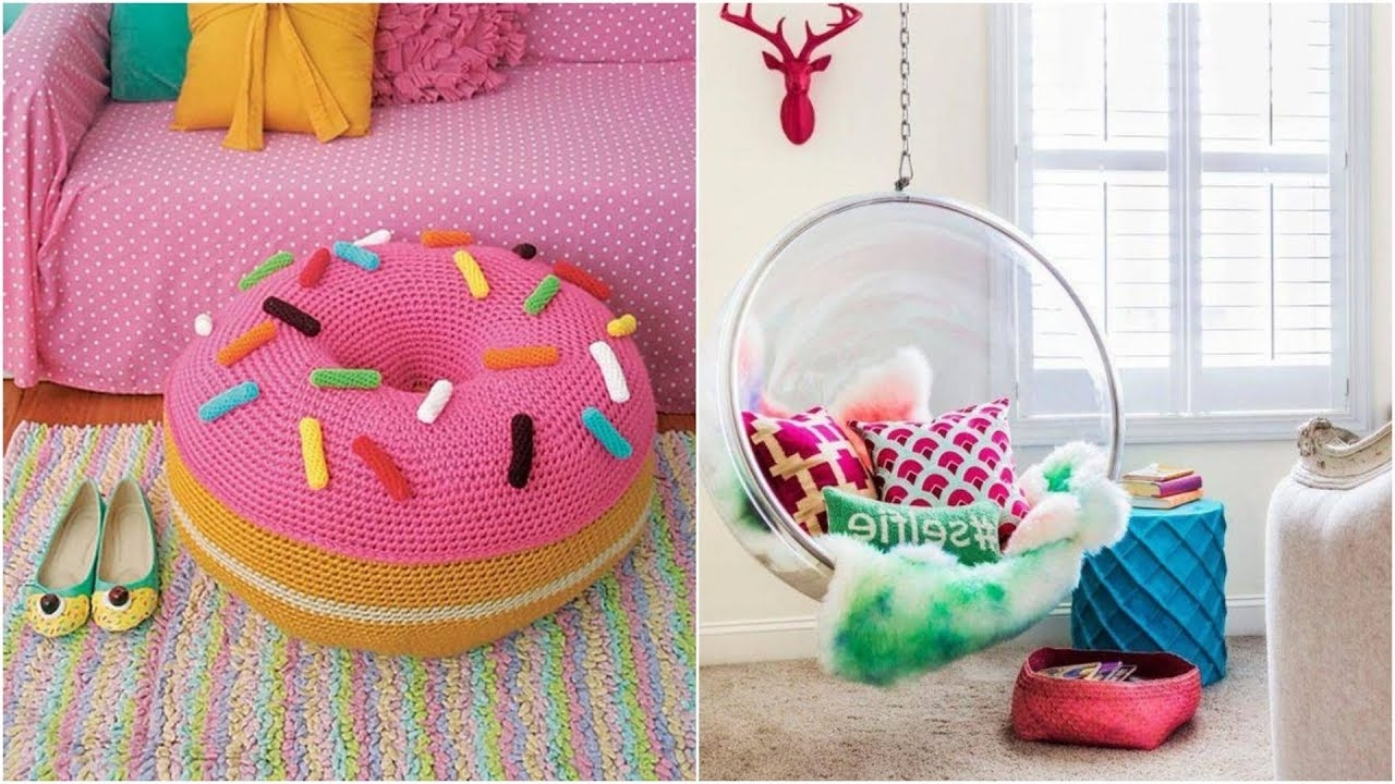 crocheted donut ottoman chair, on a colorful striped pastel carpet, next image shows, a clear plastic swing, with oval shape, decorated with cushions