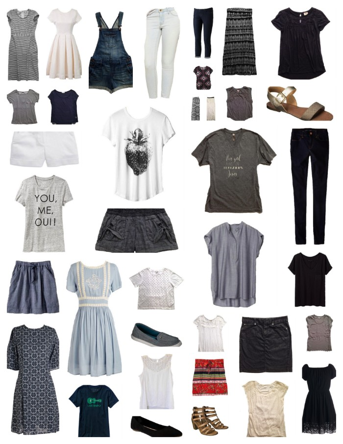 how to create a capsule closet, dresses and skirts, basic t-shirts and trousers, overalls and shorts, sandals and ballet flats