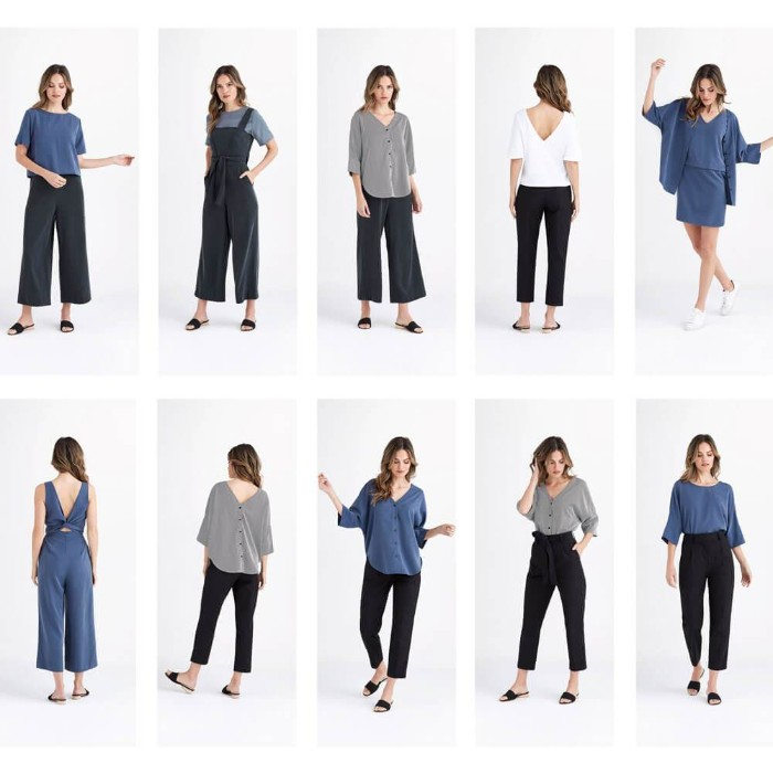 blue and black, grey and white, mix and match outfits, worn by a brunette woman, baggy trousers and a jumpsuit, black smart trousers, and airy tops