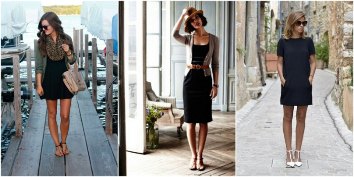 examples of little black dresses, on three different women, flared and fitted, mini and midi, capsule wardrobe essentials, combined with different accessories and shoes