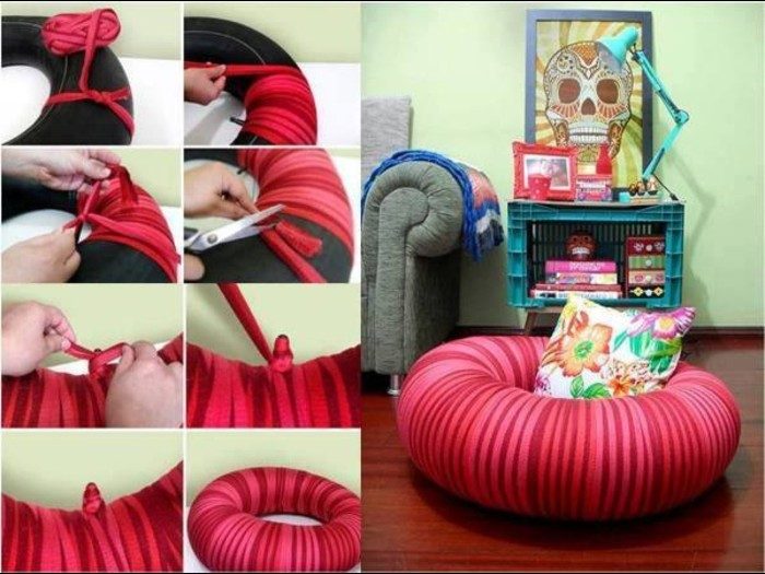 nine photos explaining how to make your own donut chair, using an inflatable ring, and red and pink yarn