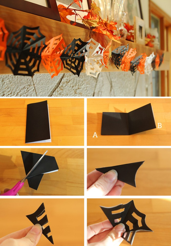 garland of black, orange and white paper cobwebs, hanging on a mantlepiece, tutorial with six images, showing how to make the cobwebs