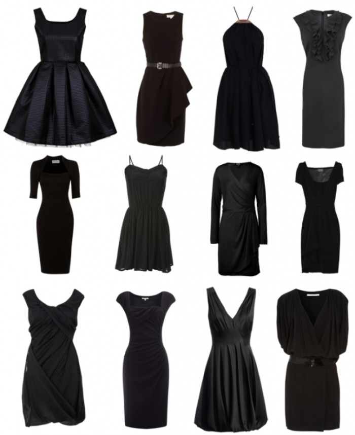 a dozen little black dresses, in different styles, flared and fitted, a-line and strappy, featuring pencil skirts and pleats