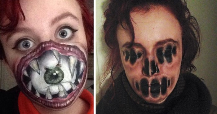 monster and witch face paint, red haired woman, with a drawing of a big open mouth, with sharp teeth and an eye, on the lower part of her face, next image shows a woman, with face painted to look like its melting