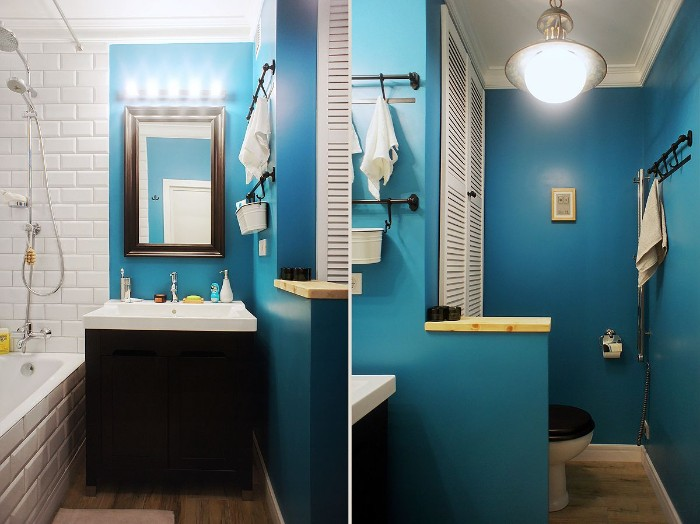 side by side images of a bathroom, seen from two different angles, blue walls partially covered with white subway tiles, bathroom paint colors