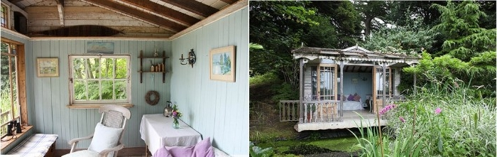 side by side images of the outside and inside, of a small rustic shed, she shed interiors, chair and a desk, table and shelves