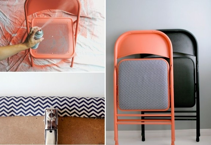 tutorial with three images, explaining how to upcycle plain, black office chairs, with spray paint, and a piece of fabric