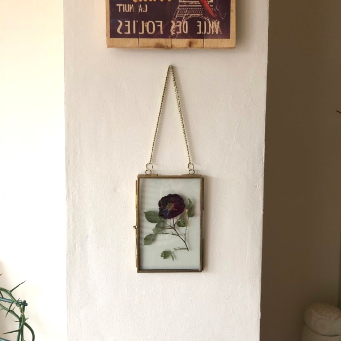 framed artwork hanging on a wall, featuring a pressed red rose, in clear glass, dorm wall décor, a poster overhead
