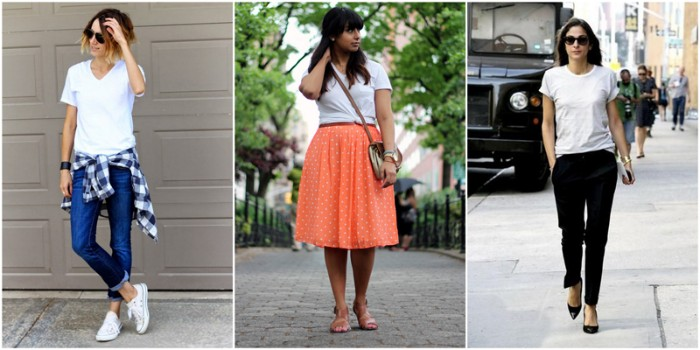 white plain t-shirts, worn with blue skinny jeans, an orange midi skirt, and black smart trouses, by three different women