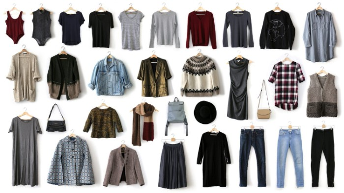 thrity two pieces of clothing, capsule wardrobe planner, bodies and t-sirts, jumpers and shirts, trousers and dresses, bags and other accessories