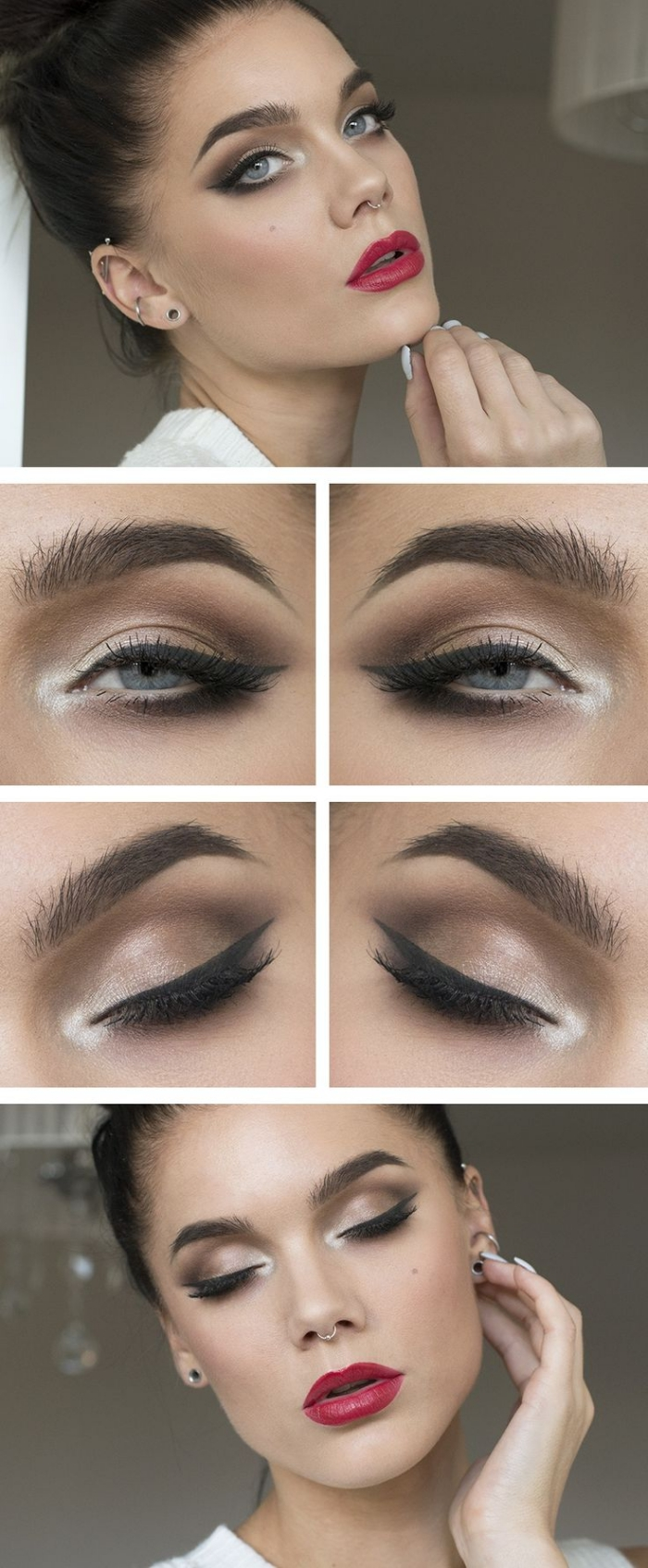 beige and brown eye shadow, with white details, fake lashes and black eyeliner, christmas eye makeup, worn by a young woman, with red lipstick