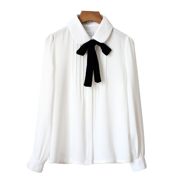 blouse in white, with a peter pan collar, and a black ribbon, tied into a bow, capsule wardrobe item, on a white background